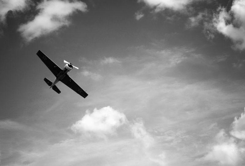 black and white plane