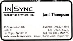 Jarel Thompson, InSync Production Services Inc, LasVegas